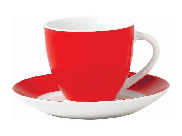 L 0,2 cm Tasse VARIO mit Unterer Porzellan rot VAN WELL 1341040//1341050