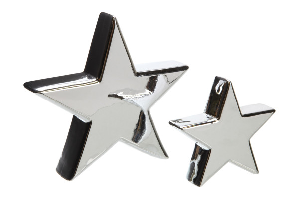 Dekostern STAR silber Porzellan grau Cepewa 51438 (BHT 11,5x11x3 cm)