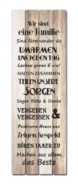 Bild FAMILIENREGELN Holz braun Cepewa 64112 (BH 40x120 cm)